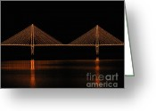 Mixed Media Photo Greeting Cards - Bright Bridge - Digital Art Greeting Card by Al Powell Photography USA