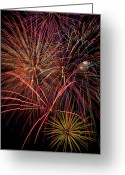 Displays Greeting Cards - Bright Colorful Fireworks Greeting Card by Garry Gay