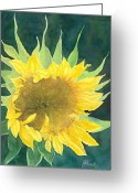 Sunflower Studio Art Greeting Cards - Bright Colorful Sunflower Watercolor Greeting Card by K Joann Russell