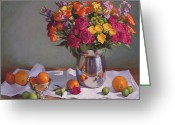 Flowers Pastels Greeting Cards - Bright Colors on a White Cloth Greeting Card by Sarah Blumenschein