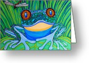 Frog Art Greeting Cards - Bright Eyes 2 Greeting Card by Nick Gustafson