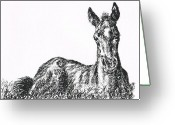 Bright Drawings Greeting Cards - Bright Eyes Greeting Card by Joann Renner