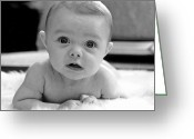 Infant Photo Greeting Cards - Bright Eyes Greeting Card by Lisa  Phillips