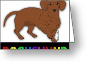 Lori Malibuitalian Greeting Cards - Bright Lights Dachshund Greeting Card by Lori Malibuitalian