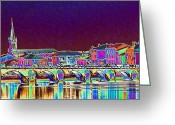 Landscape Photograpy Greeting Cards - Bright lights on the river Greeting Card by Susan Moss