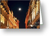 Europe Greeting Cards - Bright moon in Paris Greeting Card by Elena Elisseeva