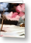 Split Rail Fence Painting Greeting Cards - Bright Night Greeting Card by Amity Traylor