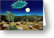 Snake Painting Greeting Cards - Bright Night Greeting Card by Snake Jagger