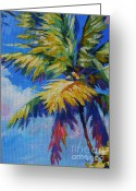 Bay Islands Painting Greeting Cards - Bright Palm Greeting Card by John Clark