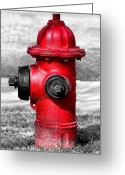Photography Tk Designs Greeting Cards - Bright Red Fire Hydrant Greeting Card by Tracie Kaska