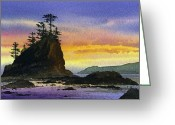 Pacific Northwest Bright Seacoast Sunset Fine Art Print Greeting Cards - Bright Seacoast Sunset Greeting Card by James Williamson