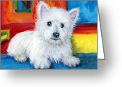 Westie Greeting Cards - Bright Westie Greeting Card by Dottie Dracos
