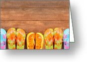 Feminine Greeting Cards - Brightly colored flip-flops on wood  Greeting Card by Sandra Cunningham