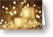 Shimmer Greeting Cards - Brightly lit candles in wet snow Greeting Card by Sandra Cunningham