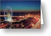 Aerial View Greeting Cards - Brighton Wheel And Seafront Lit Up At Night Greeting Card by PhotoMadly