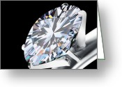 Shiny Jewelry Greeting Cards - Brilliant Cut Diamond Greeting Card by Setsiri Silapasuwanchai