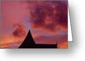 Asian Architecture And Art Greeting Cards - Brilliant Red And Burgundy Sunset Greeting Card by Jason Edwards