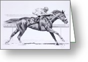 Graphite Drawings Greeting Cards - Bring On The Race Zenyatta Greeting Card by Joette Snyder