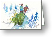 Holiday Notecard Greeting Cards - Bringing Christmas Home Again Greeting Card by Michele Hollister - for Nancy Asbell