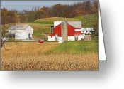 Amish Farms Greeting Cards - Bringing In The Harvest Greeting Card by Lydia Warner Miller