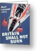 Military Pictures Greeting Cards - Britain Shall not Burn Greeting Card by English School