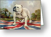 Standing Painting Greeting Cards - British Bulldog Greeting Card by English School