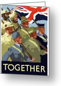 British Digital Art Greeting Cards - British Empire Soldiers Together Greeting Card by War Is Hell Store