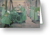 Floor Painting Greeting Cards - British Industries - Cotton Greeting Card by Frederick Cayley Robinson