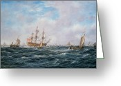 Galleons Greeting Cards - British Man-o-War and Other Craft Greeting Card by Richard Willis