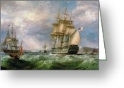 Warship Greeting Cards - British Men-O-War Sailing into Cork Harbour  Greeting Card by George Mounsey Wheatley Atkinson