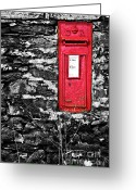Lichen Greeting Cards - British Red Post Box Greeting Card by Meirion Matthias