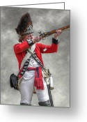 Defeat Greeting Cards - British Redcoat Firing Musket Portrait  Greeting Card by Randy Steele