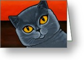 Grey Painting Greeting Cards - British Shorthair Greeting Card by Leanne Wilkes
