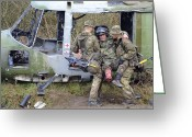 Amputee Greeting Cards - British Soldiers Help A Simulated Greeting Card by Andrew Chittock