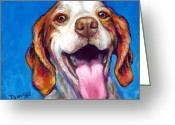 Spaniels Greeting Cards - Brittany Spaniel Smiling Greeting Card by Dottie Dracos
