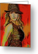 Portraits Greeting Cards - Brittney Spears Greeting Card by Byron Fli Walker