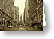 Arts Greeting Cards - Broad Street Facing Philadelphia City Hall in Sepia Greeting Card by Bill Cannon