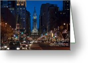 City Hall Greeting Cards - Broad Street Greeting Card by John Greim