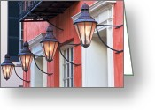 Old Wall Greeting Cards - Broad Street Lantern - Charleston SC  Greeting Card by Drew Castelhano