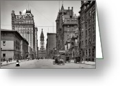 Urban Canyon Greeting Cards - Broad Street Philadelphia 1905 Greeting Card by Bill Cannon