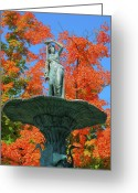 Indiana Autumn Photo Greeting Cards - Broadway Fountain I Greeting Card by Steven Ainsworth