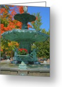 Indiana Autumn Greeting Cards - Broadway Fountain II Greeting Card by Steven Ainsworth