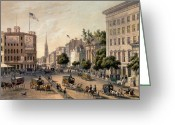 City And Colour Greeting Cards - Broadway in the Nineteenth Century Greeting Card by Augustus Kollner