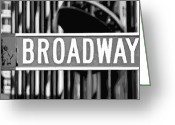 The Capital Of The World Greeting Cards - Broadway Sign Color BW10 Greeting Card by Scott Kelley