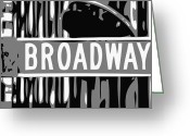 The Capital Of The World Greeting Cards - Broadway Sign Color BW3 Greeting Card by Scott Kelley