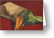 Chardin Greeting Cards - Broccoli and Carrots Greeting Card by Sarah Yuster