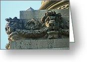 Lion Gargoyles Greeting Cards - Brocks Monument 14 Greeting Card by Cyryn Fyrcyd