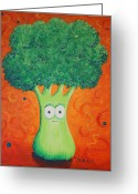 Brocolli Greeting Cards - Brocolli Greeting Card by Jennifer Alvarez