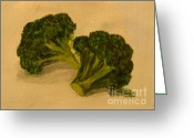 Brocolli Greeting Cards - Brocolli Love Greeting Card by Shilpi Goenka