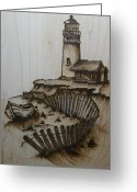 Drawing Pyrography Greeting Cards - Broken Beacan Greeting Card by Chad Bridges
